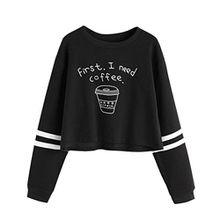 Pullover Damen hoodie mädchen coole cafe pullover E Schwarz M