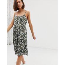 Noisy May - Gesmoktes Camisole-Kleid mit tropischem Print - Grün
