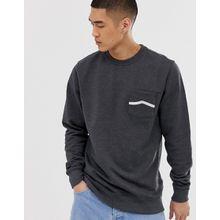 Vans - Gestreiftes Fleece-Sweatshirt mit Tasche - Grau