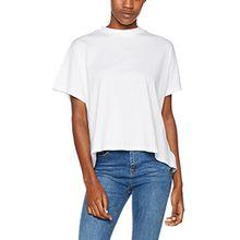 Urban Classics Damen T-Shirt Ladies Overlap Turtleneck Tee, Weiß (White 220), Small
