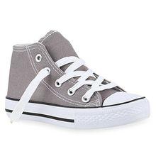 Kinder Sneakers Turn Denim Sneaker High Stoff Schnürer Schuhe 140072 Grau 27 Flandell