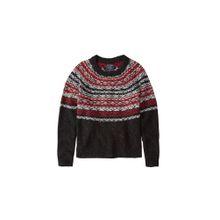 Abercrombie & Fitch Pullover 'SNOWFLAKE PATTERN CREW' rot / schwarz / weiß