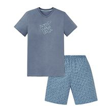 Schiesser Jungen Zweiteiliger Schlafanzug Anzug Kurz, Blau (Jeansblau 816), 176 (Herstellergröße L)