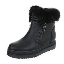 Ital-Design Keilstiefeletten Damen-Schuhe Plateau Keilabsatz/Wedge Keilabsatz Reißverschluss Stiefeletten Schwarz, Gr 39, H923-