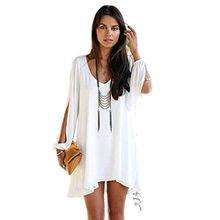 Minetom Damen Sommerkleid V-Ausschnitt Chiffon A-Linie Minikleider Abend Kleid,Party Abendkleid,Cocktailkleid Strandkleid Urlaub Kleid ( Weiß EU XL )