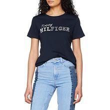Tommy Hilfiger Damen T-Shirt Effy C-NK Tee SS, Blau (Midnight 403), 40 (L)