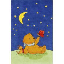 Spiegelburg Kinderteppich Mondbär mit Schmetterling blau