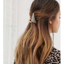 DesignB London - Dreieckige Haarklammer mit Kunstharzdetail - Mehrfarbig