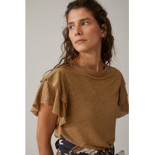 CLOSED T-Shirt mit Volants aus Leinen golden oak
