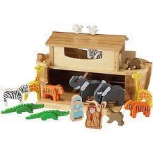 Große Arche Noah mit 16 Holzfiguren