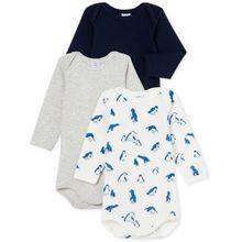 Petit Bateau 3er Pack Langarmbody - glücklicher Pinguin