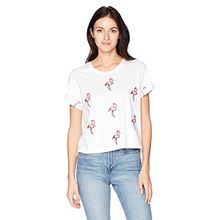 Guess Damen T-Shirt Flamingos Tee, Weiß (True White A000), Small