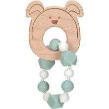 Greifling und Beißring mit Silikonkette, 2 in 1, Holz/Silikon, Little Chums Dog hellblau