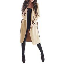 Damen Mantel Trenchcoat mit Gürtel One Size (M) lang (beige)