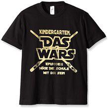 Coole-Fun-T-Shirts Jungen T-Shirt Kindergarten Das Wars, (Herstellergröße: 130), Schwarz (Schwarz-Gold)
