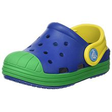 crocs Bump It Clog Kids, Unisex - Kinder Clogs, Blau (Blue Jean/Grass Green), 25/26 EU