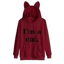 Moonuy Frauen Langarmshirts Pullover, Damen Katze Langarm Kapuzenpulli Kapuzenpulli Kapuzenjacke Winterjacke Pullover Baumwollspandex Tops Tierdruck Bluse Fashion New Style Sweatshirt (XL, Rot)
