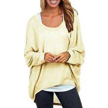 Romacco Damen Blusen Sweatshirt O Ansatz Asymmetrisch Oversize Tops Lose Pullover