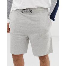 Only & Sons - Kastige Jerseyshorts mit Kordelzug und Logo in Hellgrau meliert - Grau