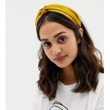My Accessories London - Exklusives, gelbes, breites Haarband mit Knotendesign - Gelb