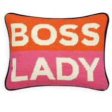 Kissen Boss Lady Needlepoint Throw Pillow von Jonathan Adler