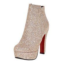 AIYOUMEI Damen Glitzer Blockabsatz High Heels Plateau Stiefeletten mit 12 cm Absatz Modern Party Winter Schuhe