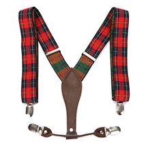 UTOVME Herren Damen Y-Form Hosentraeger mit hochwertiger Leder 4 Clips Vintage Stil in Geschenkkarton Rot+Schwarz Polka Dots