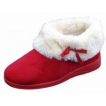 Womens Dunlop Bessie Kunstpelz Kragen Ankle Hausschuhe Stiefel - Winter Rot, EU 37