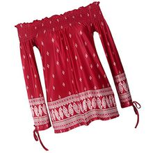 Sexy Damen Langarmshirt slim Bluse shirt shulterfrei Tops T-Shirt boho hippie stil - rot, M