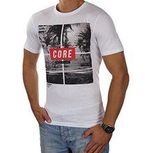 JACK & JONES Herren T-Shirt jcoMANGO-FIRE Tee Rundhals Mehrfarbig Slim Fit (L, Weiß (White Fit:SLIM MANGO))