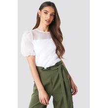 NA-KD Trend Puff Sleeve Organza Blouse - White