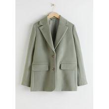 Wool Blend Oversized Blazer - Green