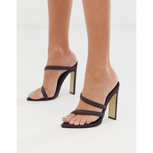 Missguided - Spitze Absatzsandalen in Dunkelgrau - Orange