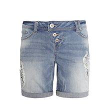 Rock Angel Damen Bermuda AMY mit Pailletten I Kurze Hose I Jeans-Shorts in Destroyed Optik blue L