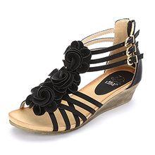 Alexis Leroy Blumen T-Spangen Damen Römersandalen Sandalen mit Keilabsatz Schwarz 37 EU / 4 UK