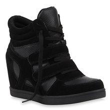 Stiefelparadies Sportliche Damen Sneakers Sneaker Wedges Glitzer Lochung Keilabsatz Wedge Sport Schuhe 110216 Schwarz 41 Flandell
