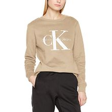 Calvin Klein Jeans Damen Sweatshirt Crew Neck Hwk True Icon, Grau (Silver Mink 015), Small