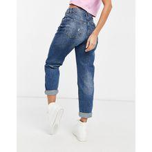 Bershka – Mom-Jeans in verwaschenem Mittelblau