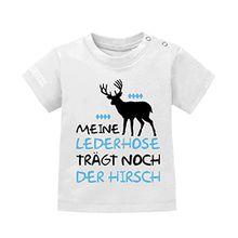 MEINE LEDERHOSE TRÄGT NOCH DER HIRSCH | BABY - KIDS- T-SHIRT in Weiss by Jayess-Kids Gr. 92/98