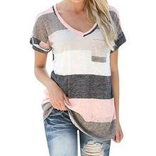 Areshion Damen Blusen Bluse, Gestreift Gr. M, grau