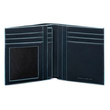 Piquadro Herrengeldbörse im Hochformat Leder 11 cm blau Herren