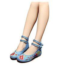 Minetom Damen Elegant Doppel-BGEL Ethnische Bestickte Schuhe Tanzschuhe Niedrigem Keil Ballerina Mary Jane Blumen Flache Hellblau EU 37
