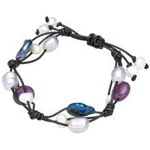 Valero Pearls Echtleder-Armband mit Süßwasser-Zuchtperlen und Amethyst blau / helllila / schwarz / weiß