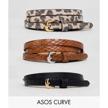 ASOS DESIGN Curve - 3er-Pack Gürtel für Jeans mit Schlangen- & Leopardendesign - Mehrfarbig