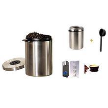 Xavax Edelstahldose für 1kg Kaffeebohnen, Tee, Kakao, mit Aromadeckel silber Neu mit Löffel + 4 Glastassen 200ml