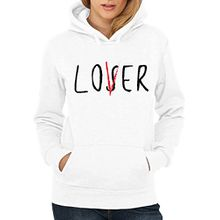 clothinx Damen Kapuzenpullover Loser Lover Club Weiß Gr. L