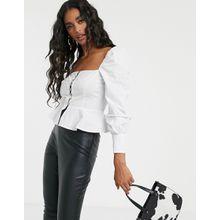 Missguided - Weiße Bluse mit Carré-Ausschnitt und Haken- und Ösenverschluss - Weiß