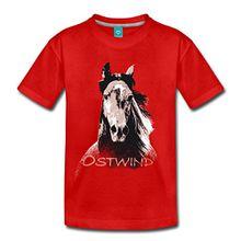 Spreadshirt OSTWIND Aufbruch Nach Ora Porträt Hengst Kinder Premium T-Shirt, 134/140 (8 Jahre), Rot