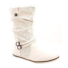 Elara Flache Damen Schlupfstiefel Bequeme Stiefel Boots MQ1286-1-Weiss-37