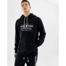 Abercrombie & Fitch - Schwarzer Kapuzenpullover mit Logo auf der Brust - Schwarz